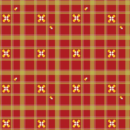 Seamless colorful candycorn pattern on red and green plaid background photo