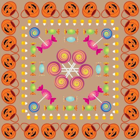 Colorful Halloween Pattern with lots of candies and pumpkin baskets photo