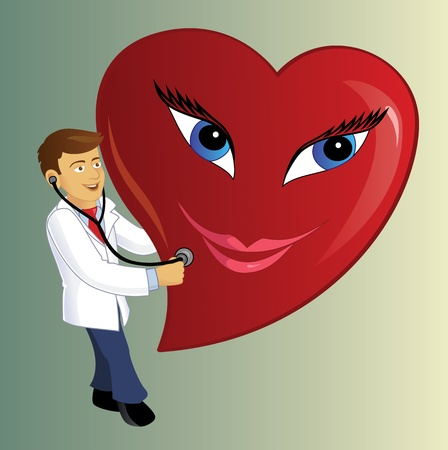 A Caucation Doctor conducting a medical Checkup on a Huge smily heart. photo