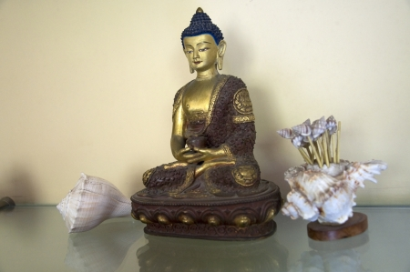 A beautiful statue of Amitabha Buddha sitting on a Lotus Base Stock Photo - 15735017