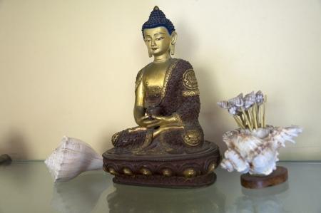 A beautiful statue of Amitabha Buddha sitting on a Lotus Base Stock Photo - 15735017