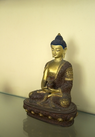 A beautiful statue of Amitabha Buddha sitting on a Lotus Base