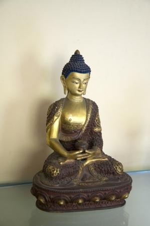 A beautiful statue of Amitabha Buddha sitting on a Lotus Base Stock Photo - 15735016