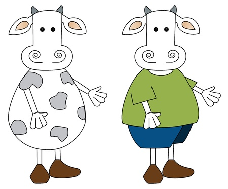 Illustration of a cute little cow- bare and draped