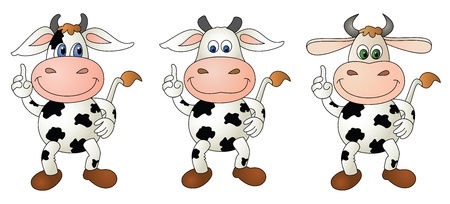 Illustration of a cute little cow- 3 options Stock Photo