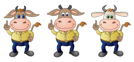 Illustration of a cute little cow dressed- 3 options