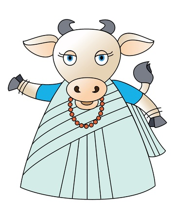 Illustration of a cute little cow draped in a saree Stock Photo