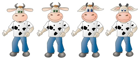 Illustration of a cute little cow- dressed 4 options