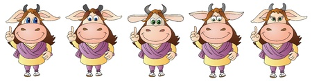 Illustration of a cute little cow dressed- 5 options