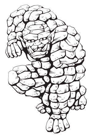 Stone Monster - A ferocious stone monster ready to strike with his fist