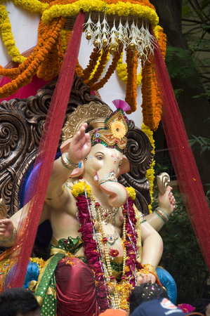 Lord Ganesha Procession Two: Procession of Lord Ganesha on Anant Chaturdashi Day. Stock Photo