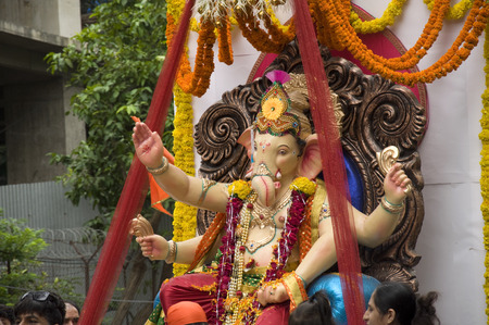 Lord Ganesha Processie Vier: Processie van Lord Ganesha op Anant Chaturdashi Day. Stockfoto