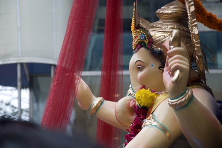 Lord Ganesha Procession Five: Procession of Lord Ganesha on Anant Chaturdashi Day. Stock Photo