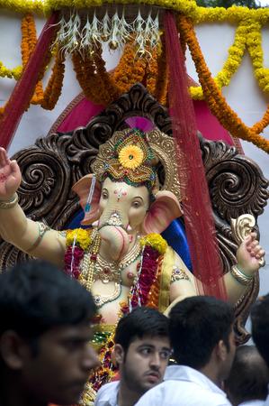 Lord Ganesha Procession Three: Processie van Lord Ganesha op Anant Chaturdashi Day.