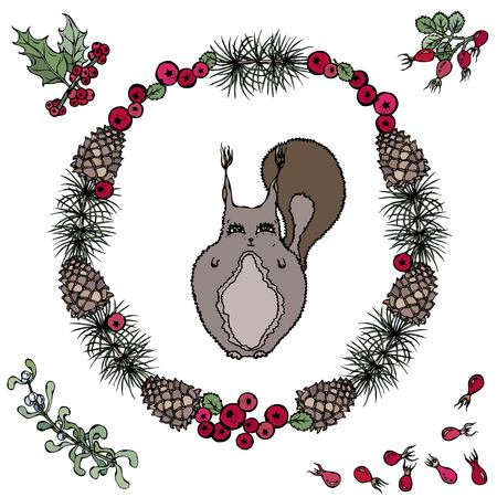 Cute cartoon style hand drawn illustration. Squirrel in wreath with branches of pine, tree, cone, mistletoe, holly berries and rose hips. Isolated on white, all design elements are editable.