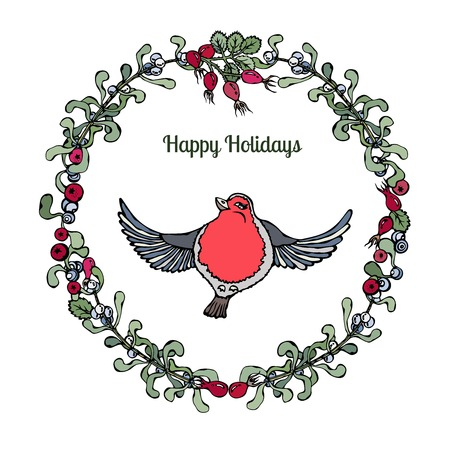 rose hips: Cute cartoon style hand drawn illustration. Red ribbon or bullfinch bird in wreath with branches of mistletoe, holly berries and rose hips. Isolated on white, all design elements are editable. Illustration