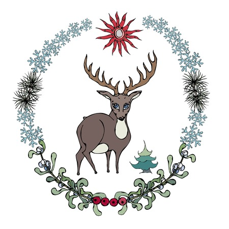 rose hips: Cute cartoon style hand drawn illustration. Deer with beautiful horns in wreath with branches of pine tree, mistletoe, rose hips. Isolated on white, all design elements are editable. Illustration