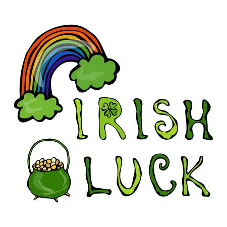 Irish Luck Logo with Rainbow and Pot of Gold and Clover