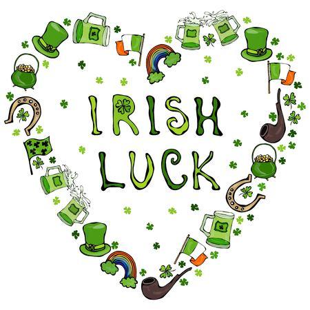 Collection of Irish symbols. Irish Luck Lettering. Heart Shape Background. Leprechauns Hat, Horseshoe, Pot of gold, Flag, Beer Mug, Rainbow, Clover