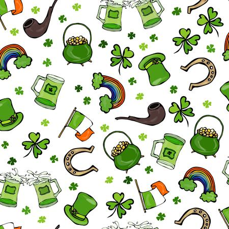 goodluck: Irish Simbols Seamless Backgroung Stock Photo