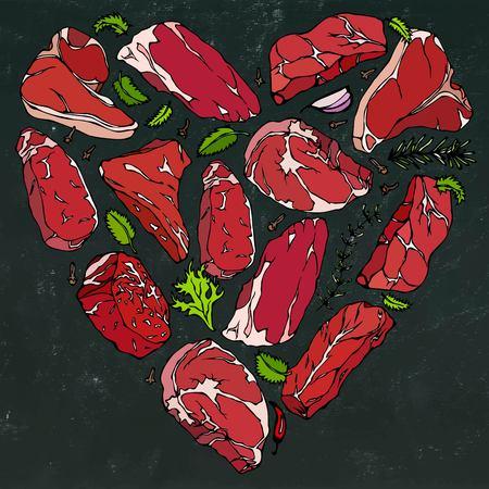 Vector heart of meat steaks on chalkboard background