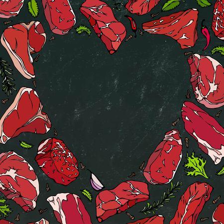 Un coeur vectoriel de steaks de viande sur fond de tableau