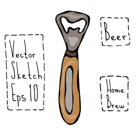 Beer Bottle Opener. Doodle Style Sketch. Hand Drawn Vector Illustration