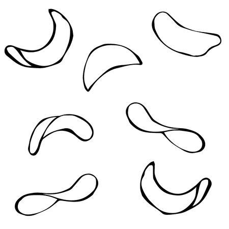 titbits: Set of Potato Chips. Vector Realistic Illustration