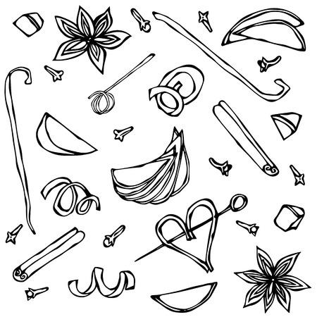 Verzameling van specerijen en fruitschijfjes. Anijs, kaneel, kruidnagel, vanille, appel, sinaasappelschil. Hand getrokken schets vectorillustratie. Stockfoto - 77690082