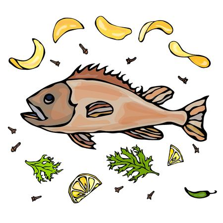 Cooked Fish With Potatoo Chips Herbs Spices Lemon. Vector Seafood Realistic Illustration Illustration