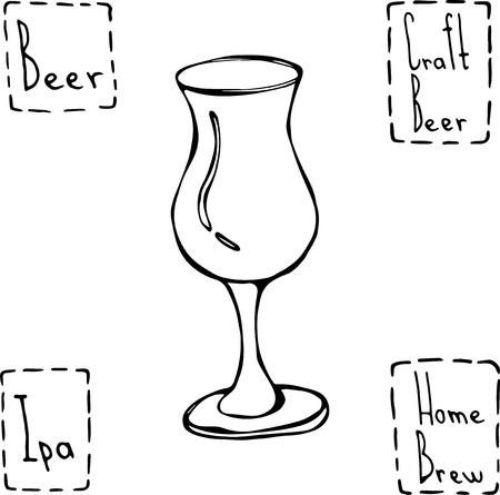 Tulip Beer Glass. Hand Drawn Vector Illustraition.