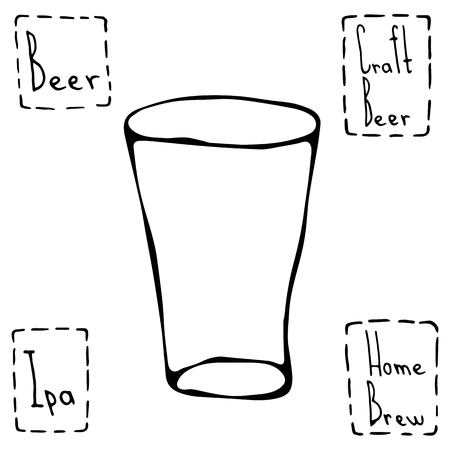 Shaker Pint Beer Glass. Hand Drawn Vector Illustraition.