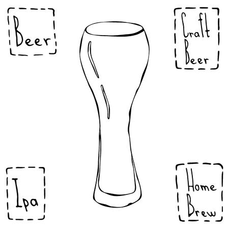 Beer Glass Weizen Type. Hand Drawn Vector Illustraition.