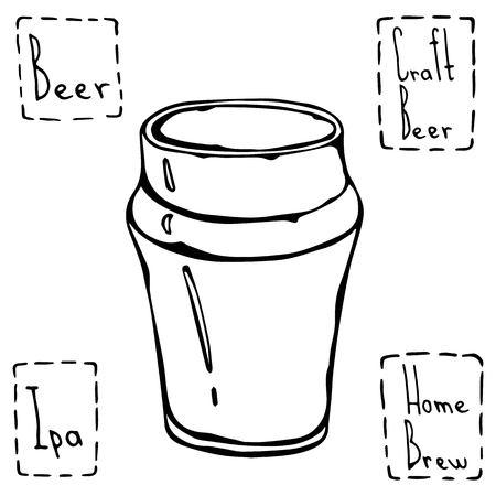 Beer Glass Nonic Pint Type. Hand Drawn Vector Illustraition.