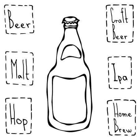 Craft Beer Bottle. Hand Drawn Vector Illustraition.