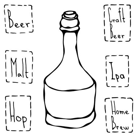 Beer Bottle. Hand Drawn Vector Illustraition. Illustration