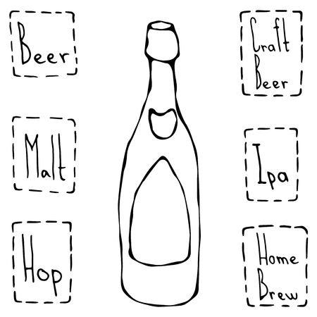 Classic Beer Bottle. Hand Drawn Vector Illustraition.
