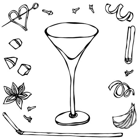 Margarita Coctail Glass. Hand Drawn Vector Illustraition.