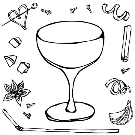 Champagne Saucer Coctail Glass. Hand Drawn Vector Illustraition. Illustration