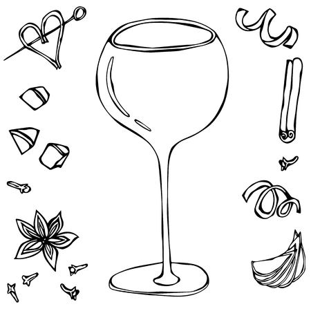 Oversized Wine Coctail Glass. Hand Drawn Vector Illustraition.