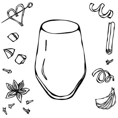 Rocks Glass Coctail Tumbler. Hand Drawn Vector Illustraition.