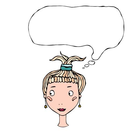 Cartoon Cute Pretty Young Girl Head with Thinking Balloon Vector Illustration Illustration