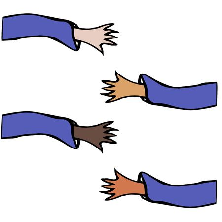 Cartoon Hands Stretch Towards Each Other. Arms Raised of Different Races United .Vector Illustraition