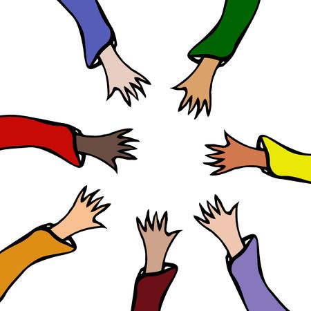 Vector Illustraition. Cartoon Hands Stretch Towards Each Other. Arms Raised of Different Races United .