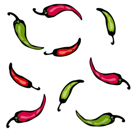 Vector illustratie. Rood en groen Heet Chili Pepper Sketch.
