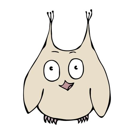 Isolated On a White Background Doodle Cartoon Hand Drawn Sketch Illustration. Cute Funny Happy Surprised Amused Puzzled Owl Bird . Emoji Character.