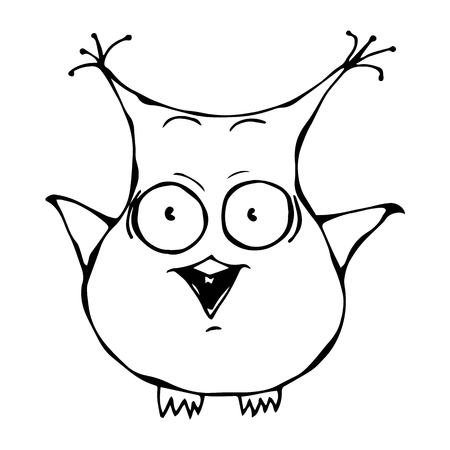 Isolated On a White Background Doodle Cartoon Hand Drawn Sketch Vector Illustration. Cute Funny Scared Crazy Mad Insane Owl Bird. Emoji Character. Illustration