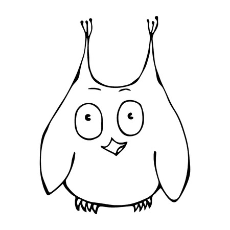 Isolated On a White Background Doodle Cartoon Hand Drawn Sketch Vector Illustration. Cute Funny Happy Surprised Amused Puzzled Owl Bird . Emoji Character.