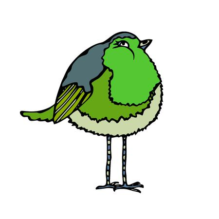 Isolated On a White Background Doodle Cartoon Hand Drawn Sketch Vector. Cute Adorable Green Bird.