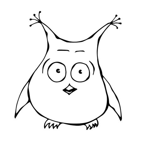 Isolated On a White Background Doodle Cartoon Hand Drawn Sketch Vector Illustration. Cute Funny Scared Frightened Surprised Amused Puzzled Owl Bird . Emoji Character.